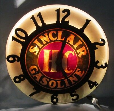 Very Unusual Sinclair Gasoline HC Reverse Lighted Clock Sign non-neon or dino