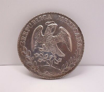 Estate Found 1886 Mexico 8 Reales Silver Coin Mexico City Mint Mark