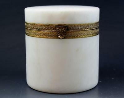 C1910 Italian White Marble Round Dresser Jewelry Box w/ Gilt Brass Mounts No Res