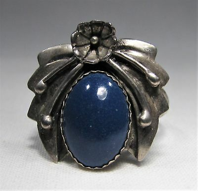Vintage Blue Lapis Navajo Sterling Silver Ring Signed STC Sz 9.5 C1166