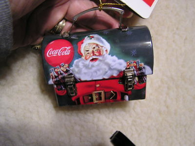 2010 Coca-Cola Mini Lunch Bucket Christmas Ornament Santa Claus Carry- All
