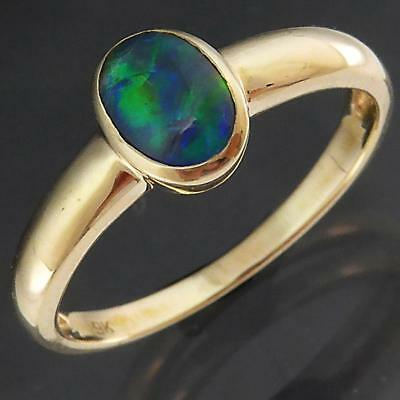 Simple Solid 9k Yellow GOLD BEZEL SET OPAL TRIPLET CABOCHON RING Sz Q