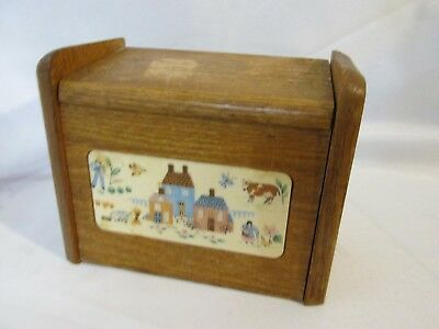 Vintage  Recipe Wood File Box Cabinet Wooden Index Card Holder Storage Cubby #22