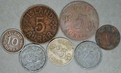 Iceland Lot of 7 Coins