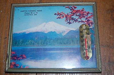 Vintage Martin Funeral Home Picture Thermometer Mansfield Arkansas advertising