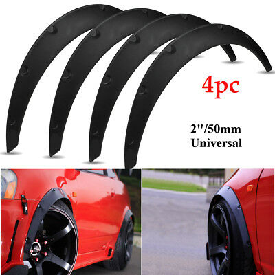 4X 2'' (50mm) Universal Flexible Car Body Wheel Fender Flares Extra Wide Arches
