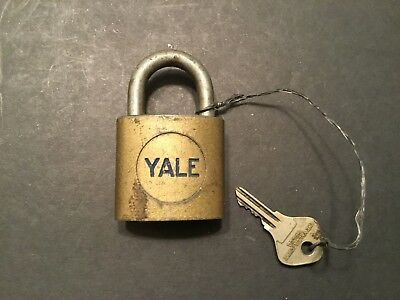 Vintage YALE Brass Pad Lock with Key