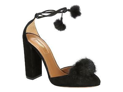 Aquazzura high heel ankle strap pumps shoes in black Suede leather made in Italy