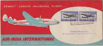 India Modern 1948 1st Flight Cover Bombay - New York SG304 12a Pair