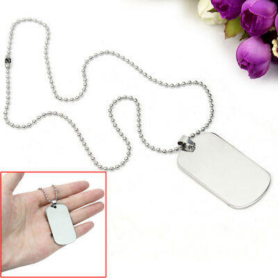 Fashion Men Stainless Steel Black Ring Dog Tag Pendant Necklaces Bead Chain