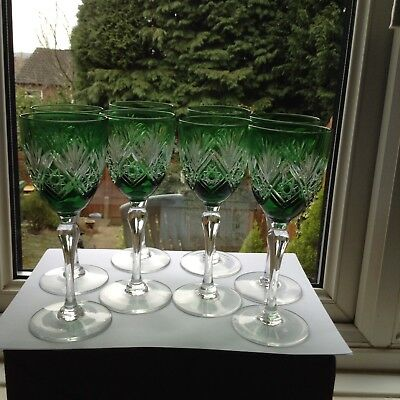 8 Thomas Webb Finest British Lead Crystal St Andrews Emerald Green Wine Stems