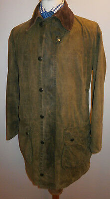 Barbour Border A200 Vintage Wax Jacket Green Overcoat Country Coat Mens C 40 102