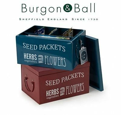 Burgon & Ball Seed Packet Planting Organiser Tin in Petrol Blue or Burgundy