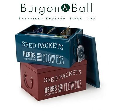 Burgon and  Ball Seed Packet Planting Organiser Tin in Petrol Blue or Burgundy