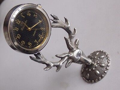 """Interesting Hand Made Solid silver """"Stag"""" Clock"""