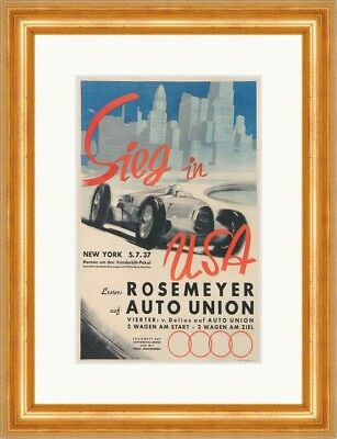 Sieg in USA Rosemeyer Auto Union 1937 Gerstenberg Kunstdruck Plakatwelt 073