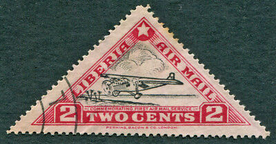 LIBERIA 1936 2c SG531 used NG 1st Air Mail Service Ford Tin Goose AIRMAIL a3