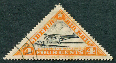 LIBERIA 1936 4c SG533 used NG 1st Air Mail Service Ford Tin Goose AIRMAIL a3