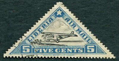 LIBERIA 1936 5c SG534 used NG 1st Air Mail Service Ford Tin Goose AIRMAIL a3