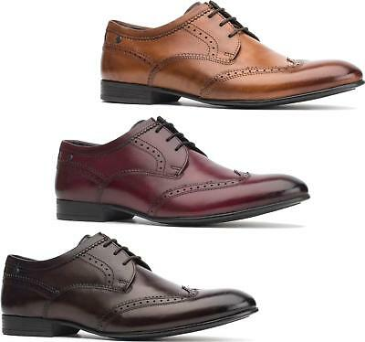 2731206fbff83 Base London PURCELL Mens Washed Leather Smart Office Formal Lace Up Brogue  Shoes