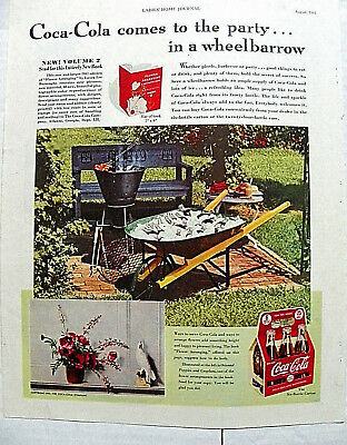 """1941,aug. Ladies Home Jrl """"coca-Cola Comes To The Party"""" Bottles In Wheelbarrow"""