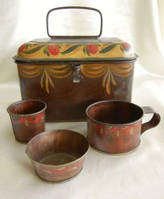 19th Century Antique Toleware Hand Painted Tin 4pc Lunch Box Pail Cup & Dishes