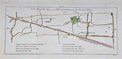 OLD ANTIQUE MAP SCAMPTON MANOR LINCOLNSHIRE c1780's ENGRAVING by BASIRE COLOURED