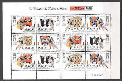 Macau 1998 Chinese Opera Masks/Cats/Theatre/Dance/Animation 12v sht (n22072)