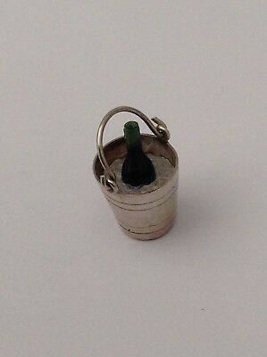 Silver Champagne In Bucket Charm Super