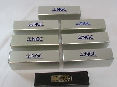 8 Hard Plastic NGC 20 Coin Storage Boxes. 1 Old Smokey Clear 7 Silver