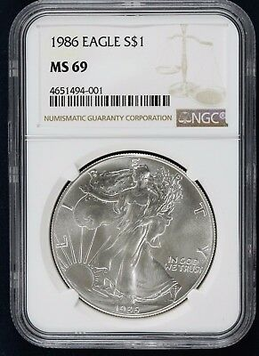 1986 American Silver Eagle $1 Ngc Certified Ms 69 Mint State