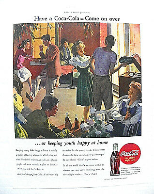"1944,july Ladies Home Jrl ""have A Coca-Cola = Come On Over"" Youth At Home Party"