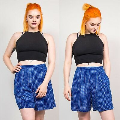90's Womens Blue & White Polka Dot Print Vintage Culottes Shorts High Waist 12