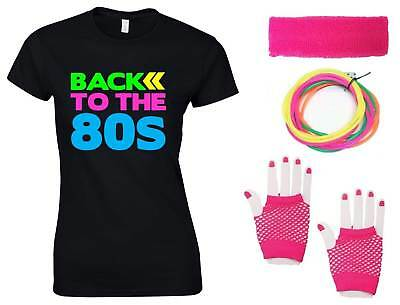 BACK TO THE 80s Ladies T-Shirt & Accessories Fancy Dress Costume Outfit Neon