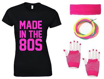 MADE IN THE 80s Ladies T-Shirt & Accessories Fancy Dress Costume Outfit Neon