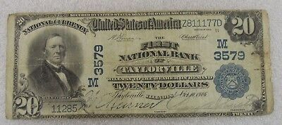 $20 National Currency First National Bank of Taylorville, Illinois Series 1902