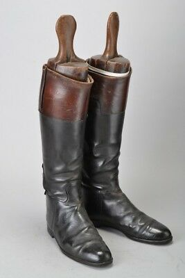 Foxhunter's Early C20th Mahogany Topped Leather Hunting Boots & Wood Trees. DIC