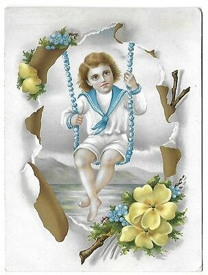 Victorian Trade Card ~ Ivory Polish for the Teeth ~ Sailor Boy on Forget-Me-Nots