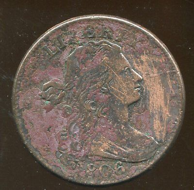 1806 Draped Bust Large Cent, Higher Grade, but heavily corroded