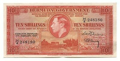 Bermuda 10 Shillings 1947 Almost Uncirculated, P-15