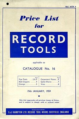 machine tools brochure Record tools catalogue for 1956