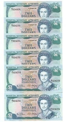 *6 Piece Lot with Consecutive Serial Numbers* Bermuda $1 1988 Uncirculated, P-34