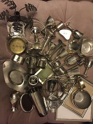Job Lot Silver Plated EPNS Vintage Goblet Dish Picture Frames Ashtray Etc