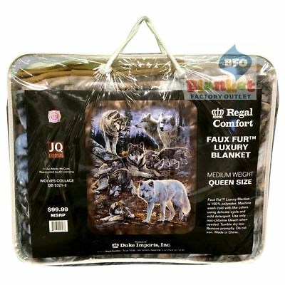 "Wolves Collage Wolf Rocks Pack Faux Fur Queen Size Blanket 79"" x 96"" NEW"