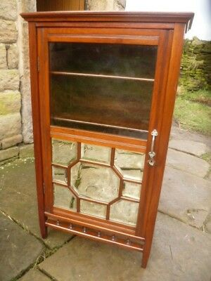 Edwardian Mahogany Slim-Line Part Mirrored/Glass Fronted Bookcase/Curio Cabinet
