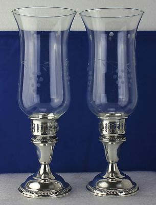 Pair Empire Gadroon Sterling Silver Etched Glass Hurricane Lamps Candle Holders