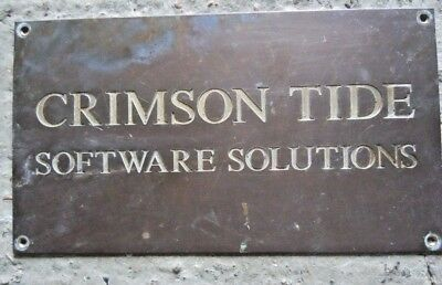 "Vintage Heavy Sheet Brass Sign / Name Plate ""Crimson Tide Software Solutions"""