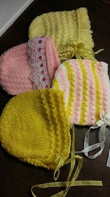 Four Vintage Knitted 1970's Baby Bonnets. NEW. First Sizes