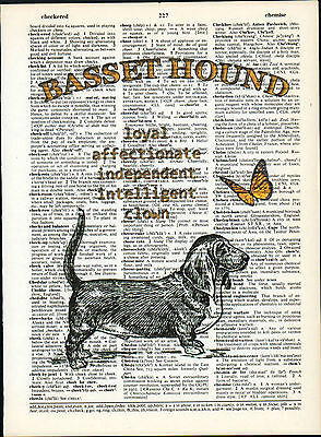 Basset Hound Dog Traits Altered Art Decor Print Upcycled Vintage Dictionary Page
