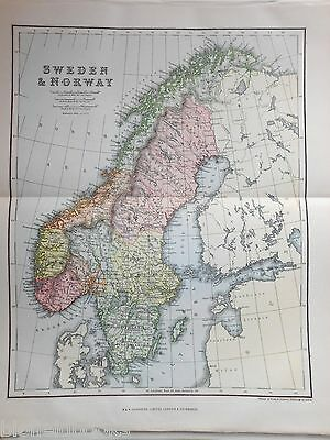 Original Antiquarian 1889 Map of Sweden and Norway, Europe, Victorian Geography